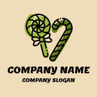 Green Organic Sugar Lollipops Logo Design