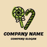 Green Organic Sugar Lollipops Logo Design