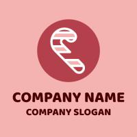 Pink Christmas Candy Cane Logo Design