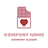 Pink Ruby Chocolate with Heart Logo Design