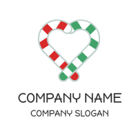 Red and Green Peppermint Canes Logo Design