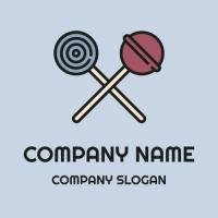 Two Crossed Colorful Lollipops Logo Design