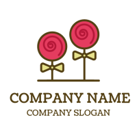 Two Pink Popsicles with Bows Logo Design