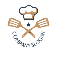 Two Crossed Spatulas with Chefs Hat Logo Design