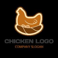 Brown Logo with Chicken and Nest Logo Design