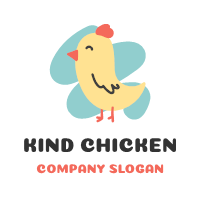 Cute and Funny Chicken for Kids Logo Design
