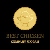 Golden Coin with Little Chicken Logo Design