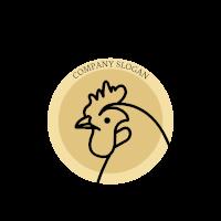 Simple Black Premium Rooster Emblem Logo Design