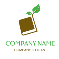 Brown Book with Growing Branch Logo Design
