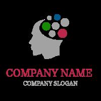 Clever Grey Head Silhouette Logo Design