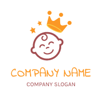 Crown and Childrens Smiley Face Logo Design