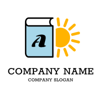 Light Blue Book and Yellow Sun Logo Design