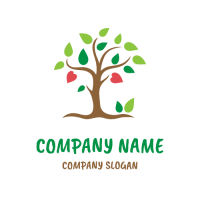 Living Tree with Leaves and Hearts Logo Design