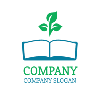 Open Book and Three Leaves Logo Design