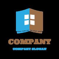 Open Book with White Window Logo Design