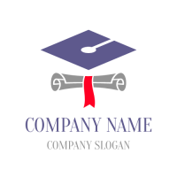 Paper Scroll and Academic Cap Logo Design