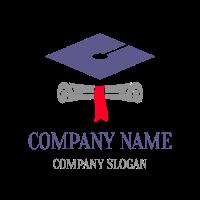 Paper Scroll and Academic Cap Logo Design