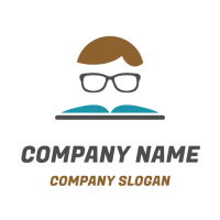Studying Kid with Book and Glasses Logo Design