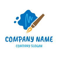 Writing Pen and Spilled Ink Logo Design