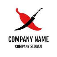 Black Pepper Knife and Red Chili Logo Design