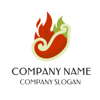 Colorful Red and Green Flames Logo Design
