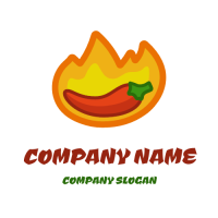 Hot Spicy Burning Pepper in a Flame Logo Design