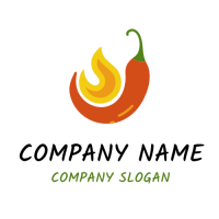 Hot Spicy Pepper with Orange Flames Logo Design