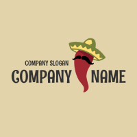 Mister Chili Pepper with Mustache Logo Design