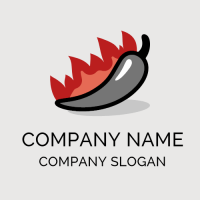 Pink Flames and Grey Pepper Logo Design