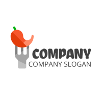 Chili Logo | Red Hot Pepper on the Fork