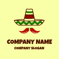 Sombrero with Two Hot Peppers Logo Design