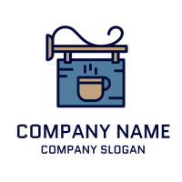 Coffee Logo | Blue Signboard with Coffee Mug