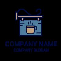 Blue Signboard with Coffee Mug Logo Design