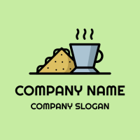 Breakfast Sandwich and Cup of Tea Logo Design