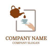 Full Teapot and Empty Cup Logo Design