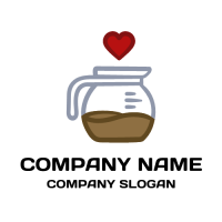 Glass Teapot with Red Heart Logo Design