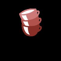 Group of Three Empty Red Mugs Logo Design