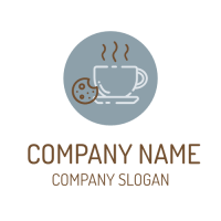 Hot Coffee Drink and Cookie Logo Design