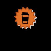 Orange Coffee Cup Emblem Logo Design