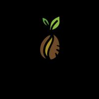 Premium Fresh Coffee with Green Leaves Logo Design
