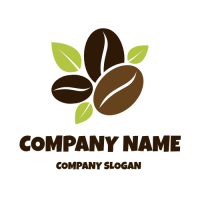 Three Coffee Beans with Leaves Logo Design