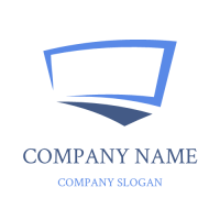 Curved Silhouette of Screen and Keyboard Logo Design