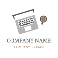 Laptop and Cup Top View Logo Design