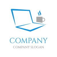Laptop Silhouette with a Cup of Tea Logo Design