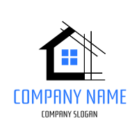 Black Building with Blue Window Logo Design