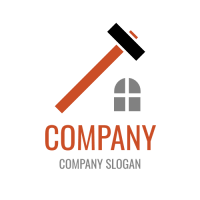 Long Hammer and Window Logo Design