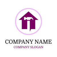 Purple House and White Hammer Logo Design