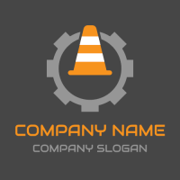 Traffic Cone and Grey Gear Logo Design
