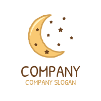 Biscuit Moon with Chocolate Stars Logo Design