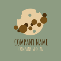 Bitten Cookie and Chocolate Chips Logo Design